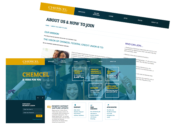 CHEMCEL FEDERAL CREDIT UNION WEBSITE DESIGN & PRODUCTION